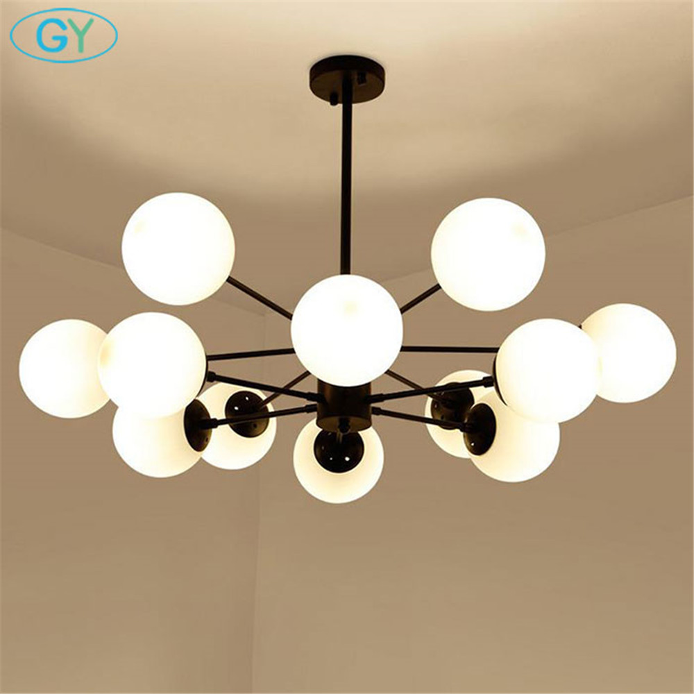 New Modo Chandelier Living Room Bedroom Lamp lustres de cristal indoor home Lights glass wrought iron Pendant Chandeliers multiple chandelier black white bedroom living room wrought iron chandeliers 5 6 8 heads personality lamp zag