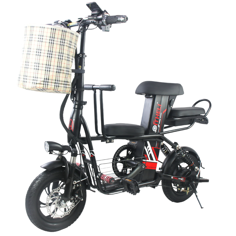 parent-child electric bicycle 12-inch Folding electric bike Removable battery electric bicycle travel electric vehicle