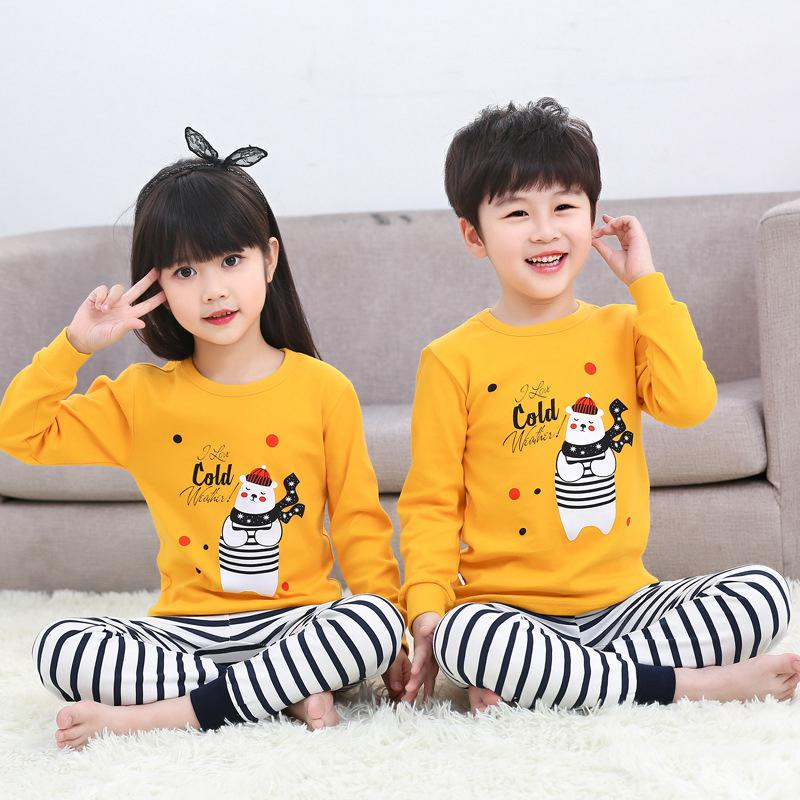 2020 Winter Children Christmas Pajamas Boys Cotton Nightwear Baby Girl Clothes Suit Cartoon Pyjamas Kids Pijama Infantil Teenage 2