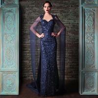 De Festa Vestido Longo Dark Blue Sequined Unique Mermaid Sparkly Evening Dresses with Shawl Arabic Evening Gown Abendkleider