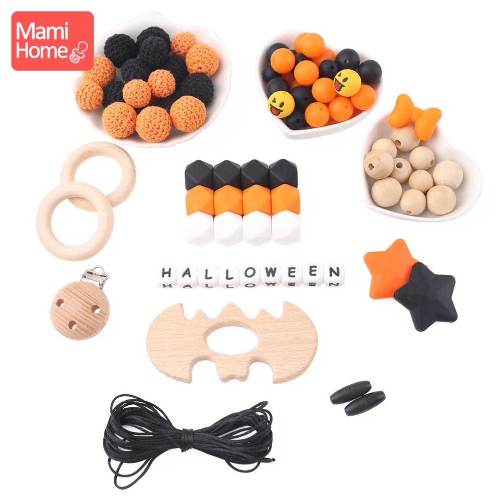 mamihome 1set Hallowmas Gifts Wooden Beads All Saints' Day Wooden Teething Toys Crochet Beads DIY Crafts BPA Free Baby Teether цена