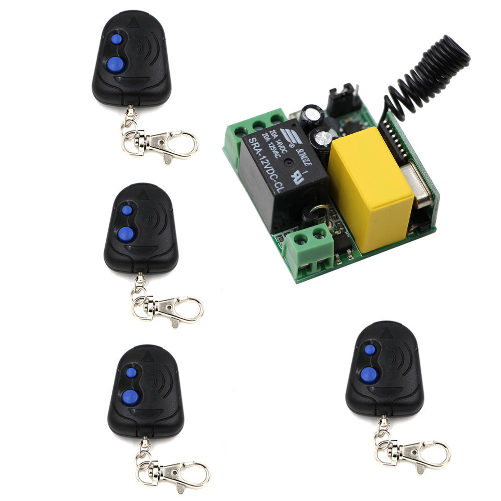 AC220V 1 CH Mini Wireless Remote Control Switch 10A Relay Small Receiver Light Lamp LED Bulb Remote Lighting Switch High Quality dc24v remote control switch system1receiver