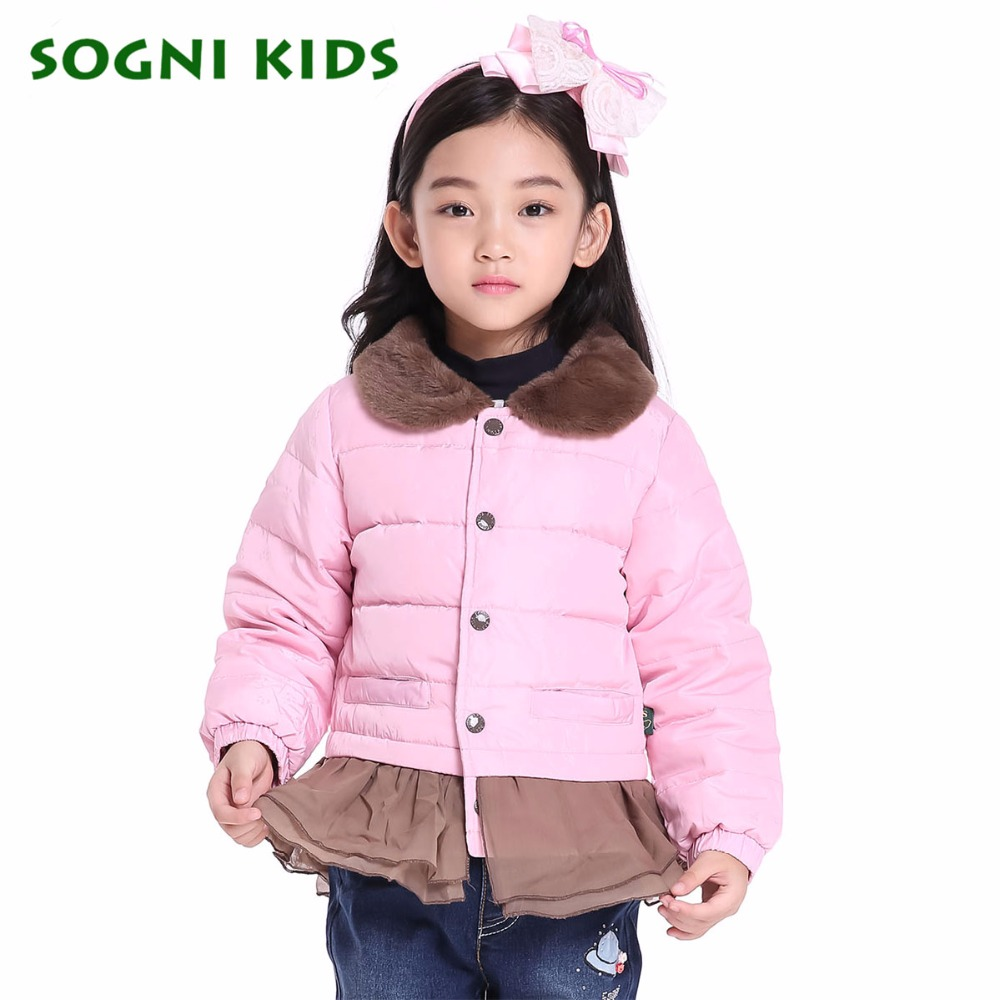 SOGNI KIDS Fashion Girl s Down Jackets Coats Brand Kids Clothes Fur Collar Girls Clothing Skirt