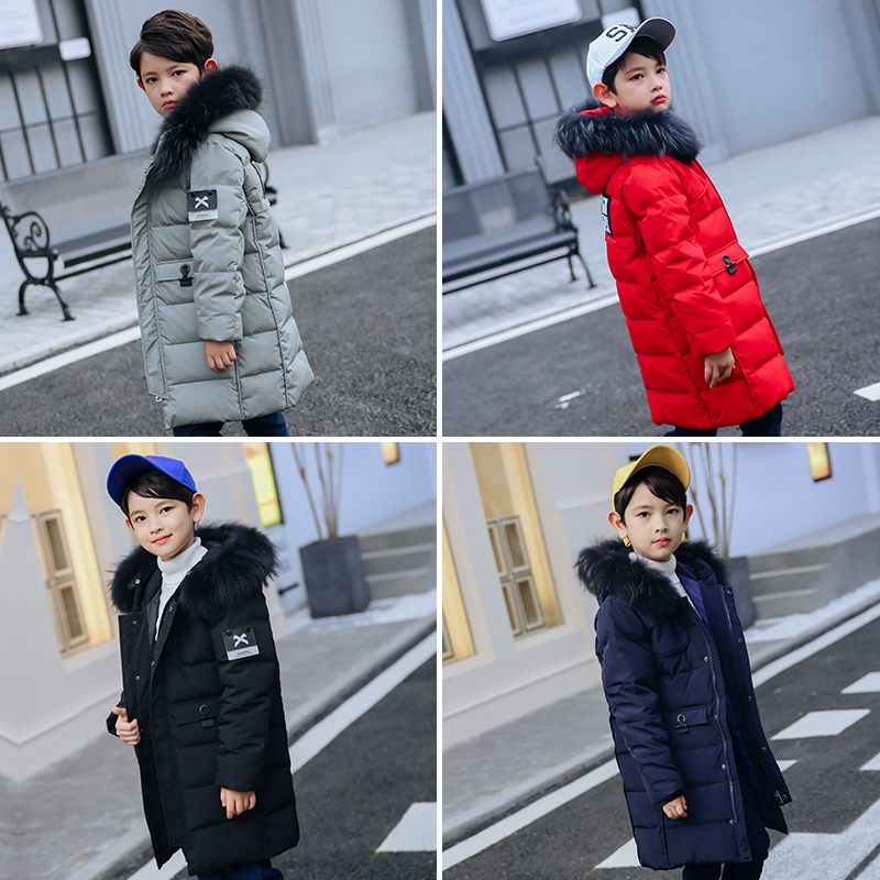 XYF9969 Boys Girls Winter Down Jackets Kids Plus Fur Collar Winter Jacket Coat Warm Outerwear Long Coat 85% White Duck Down winter plus size middle aged down jacket women medium long hooded warm down jacket winter jackets slim elegant fur collar coat