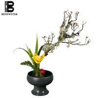 Japanese Style Ikebana Flowerpot Vintage Coarse Pottery Scrub Kiln Change High Foot Bowl Fruit Bowls Desktop Vases Flower Pot