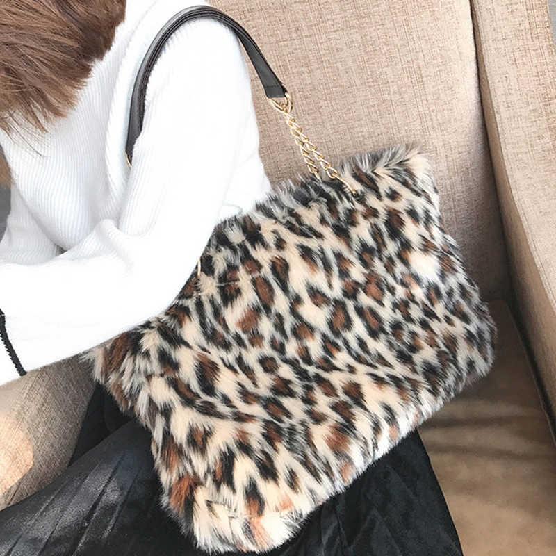f2c01b4e91b 2019 New Winter   Autumn Luxury Faux Fur Women Mink Fur Bag Leopard Print  Shoulder Bag