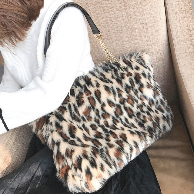 2019 New Winter & Autumn Luxury Faux Fur Women Mink Fur Bag Leopard Print Shoulder Bag Ladies Fur Tote Handbag Chain Bags 243