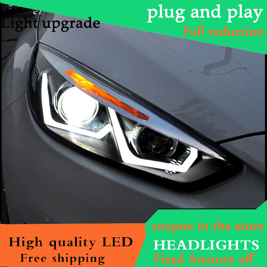 Car Styling Head Lamp For <font><b>Ford</b></font> <font><b>Focus</b></font> <font><b>MK3</b></font> Headlights 2015-2017 <font><b>LED</b></font> Headlight DRL Daytime Running Light Bi-Xenon HID Accessories image