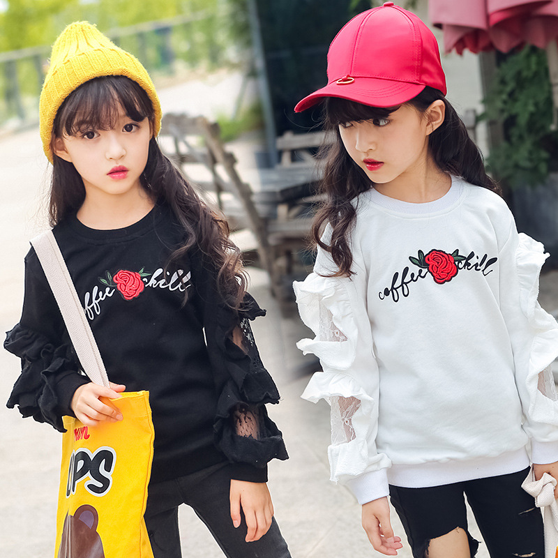 ae44711bc073 Teenage Girls Long Sleeve Blouse Tops 2018 Fall New School Girls Floral T  shirts White Black Kids Girls Tops with Lace Cotton-in Tees from Mother &  Kids on ...