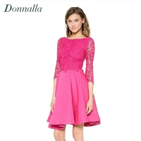 Women Long Sleeve Lace Dress 2015 Fashion Autumn Winter Lace Dresses Patchwork A Line Lady Dress