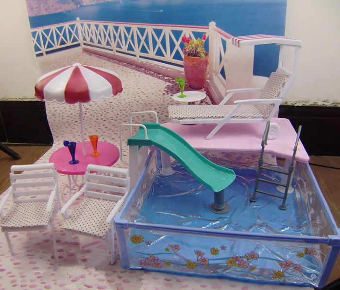 Girl birthday gift DIY toys 1/6 doll house 30cm doll furniture accessories plastic Play Set doll swimming pool for barbie doll