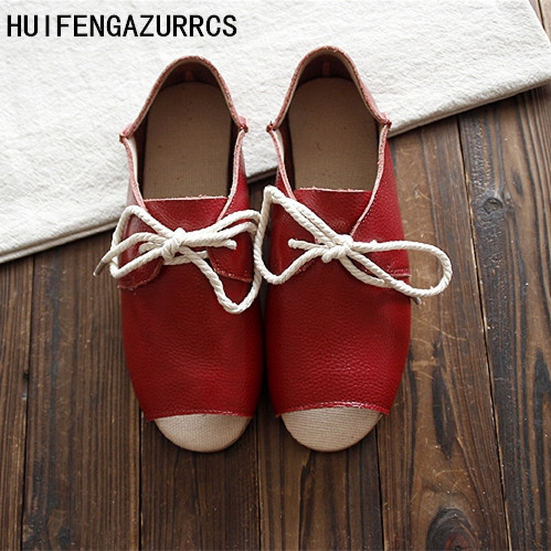 HUIFENGAZURRCS New Genuine Leather pure handmade shoes the retro art mori girl shoes Women s casual