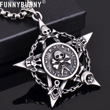 FUNNYBUNNY New Titanium Steel Creative Five Pointed Star Skull Necklace Jewelry Pendant gift Party favors