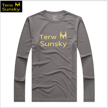Free Shipping- Hot Sale Terwsunsky Men Outdoor Quick-drying Exercise Long-sleeve Fast Drying Gym Sport T-shirt T026