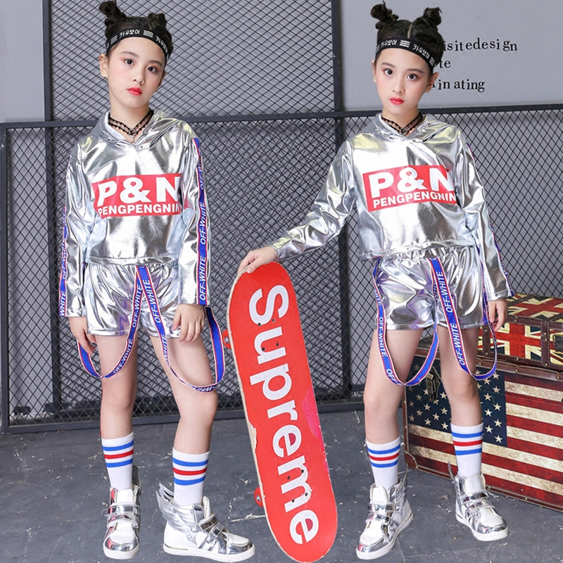Hip Hop Dance Costumes Kids Silver Tops Shorts Street Dancing Clothes Girls Modern Jazz Stage Children Performance Wear DN2949