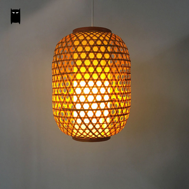Bamboo Wicker Lantern Pendant Light Fixture Asia Rustic Japanese Hanging Lamp Avize Luminaria Indoor Home Dining