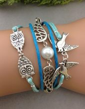 1pcs bracelet,wing bracelet,owl bracelet,rope birds,bridesmaid bracelet,friendship, friend 1264 Mini order 10$(China)