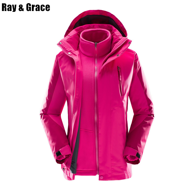 RAY GRACE Winter Women 3 in 1 Waterproof Warm Hiking Jacket Thermal Antistatic Camping Outdoor Sport Windbreaker Fleece Coat yin qi shi man winter outdoor shoes hiking camping trip high top hiking boots cow leather durable female plush warm outdoor boot