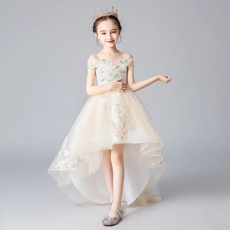 Children Girls Fashion Shoulderless Collar Embroidery Flowers Catwalk Performance Tail Dress Baby Kids Evening Party Mesh