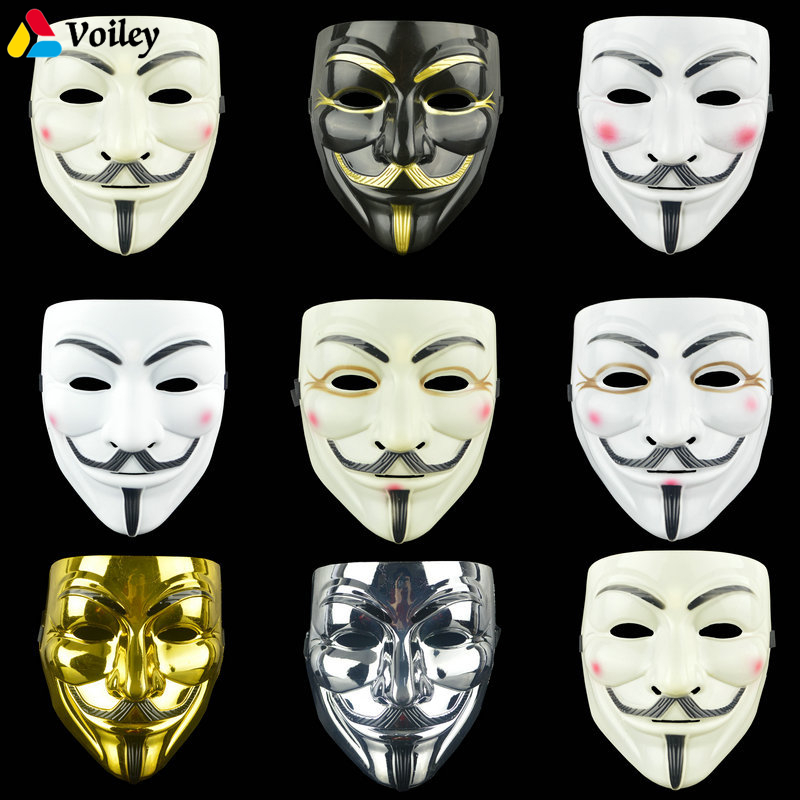 1PCS 8 Style Party Masks V for Vendetta Mask Anonymous Guy Fawkes Fancy Adult Costume Accessory Party Cosplay Halloween Masks,7 hellboy cosplay mask halloween helmets for kids carnival party masks
