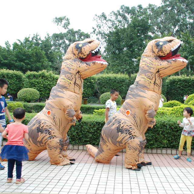5 Colors T-Rex Inflatable Outdoor Toys 180cm/220cm Giant Adult Children Dinosaur Cosplay Suits Christmas Halloween Party Props