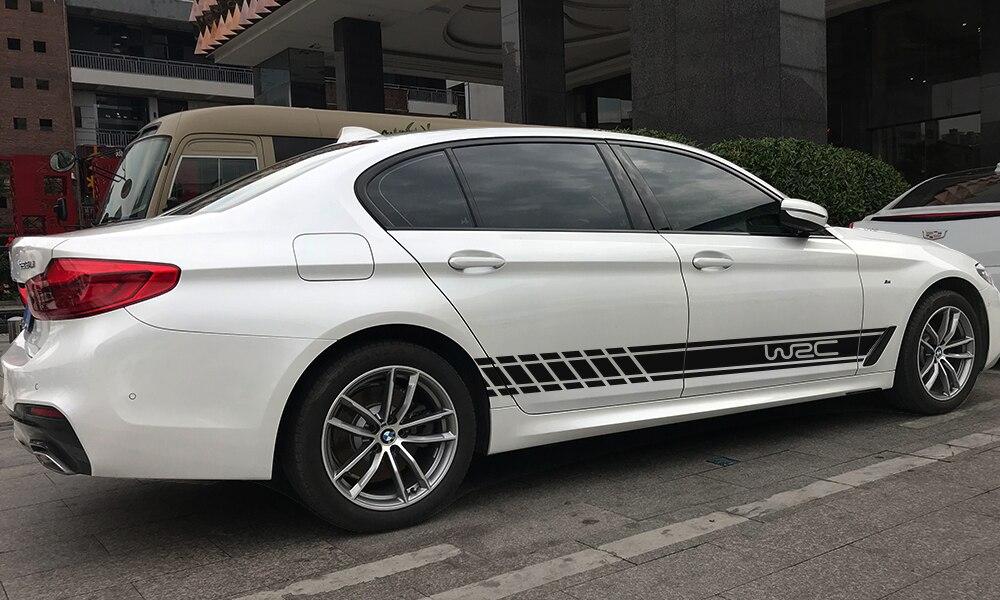 2 шт., 220 см x 16 см, длинные полосатые наклейки для автомобиля, автомобильные боковые юбки, наклейки для самостоятельного изготовления, наклейки для гоночных спортивных стикеров, аксессуары для тюнинга автомобиля