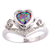New Fashion Jewelry Mysterious Rainbow CZ  Silver Color Ring Fascinate Size 6 7 8 9 10  For Women  Wholesale