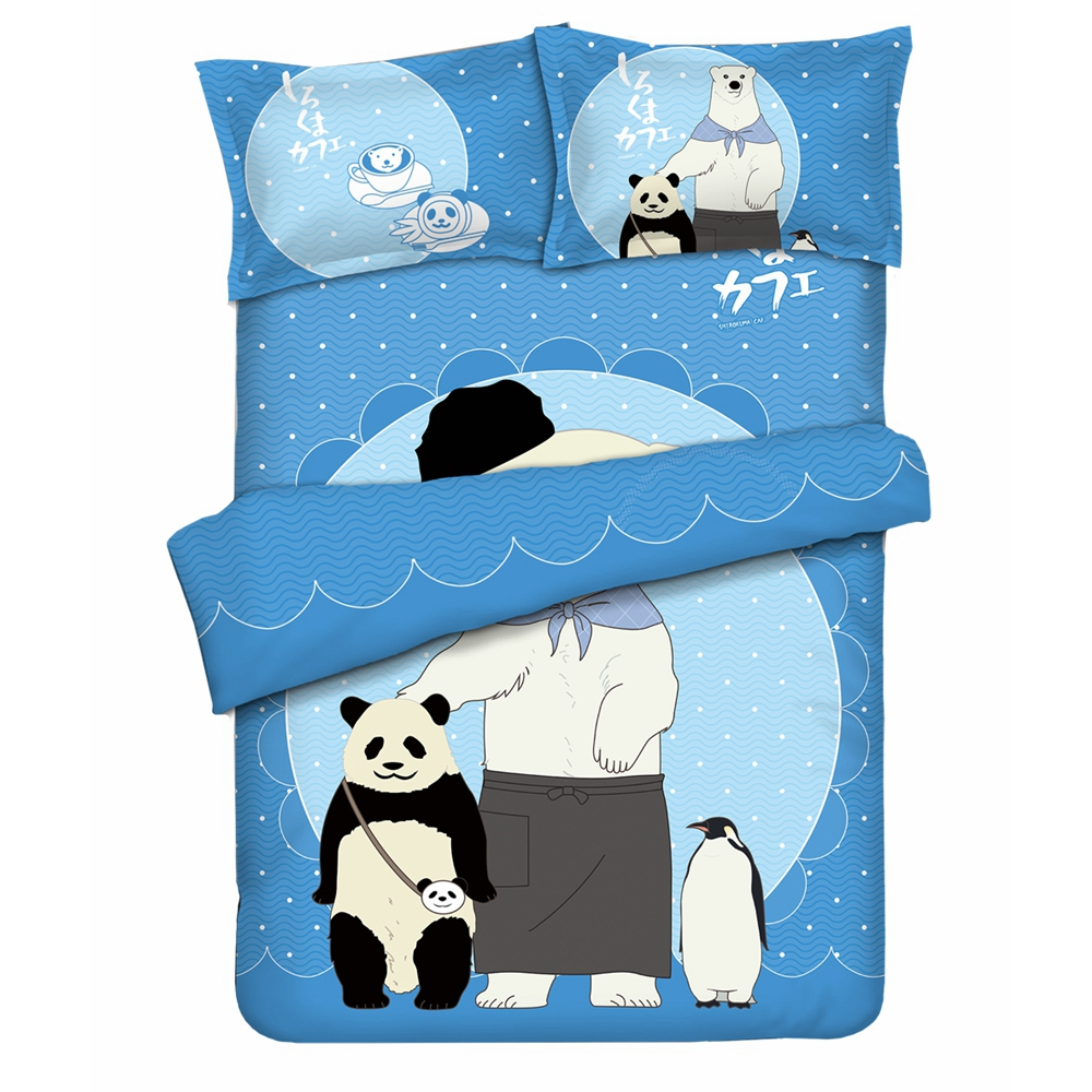 Anime Jk Cartoon Shirokuma Cafe Panda Polar Bear Penguin Flannel Throw Blanket 1.5*2m Cute Soft Bed Plush Sleep Cover Bedding Novelty & Special Use