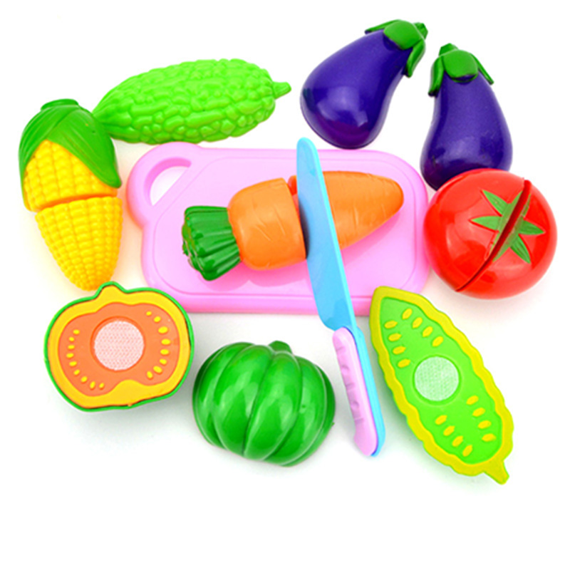 Children's 10pcs/Set Kitchen Toys Food Fruit Vegetable Cutting Kids Pretend Play Educational Toy Cook Cosplay Safety Xmas Gift