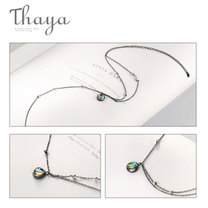 Image 4 - Thaya Star Planet Space Milky Way 100% s925 Silver Pendant Necklace Galaxy Crystal Black Chain for Women Jewelry Christmas Gift