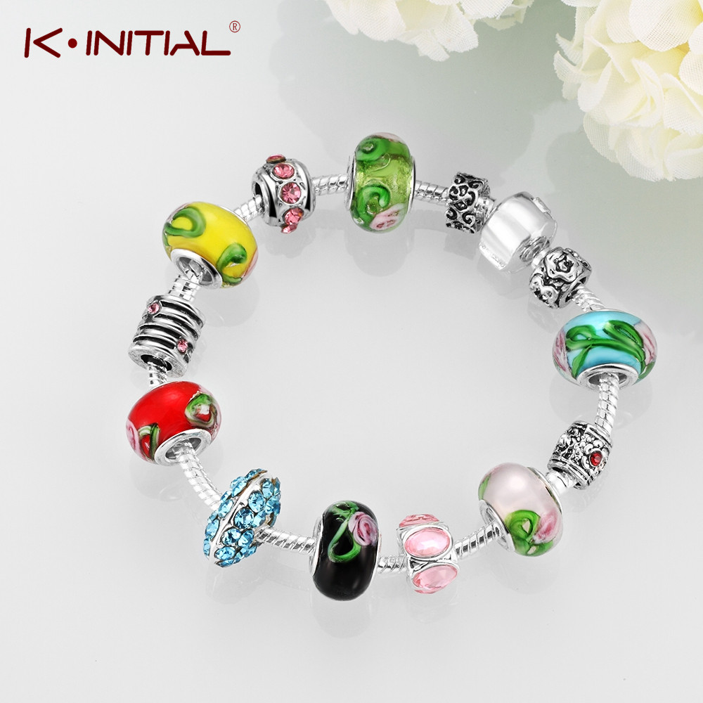 Kinitial 1pcs Colorful Murano Glass Beads Silver Plated Snake Chain Charm  Carved Flower Bracelet Gifts For Teen Girls Gift