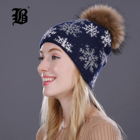 FLB Real Mink Pom Poms Winter Hats For Women Girls Hat Wool Rabbit Fur Knitted