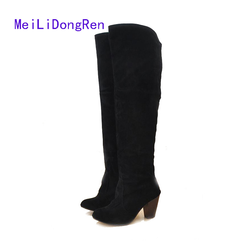 Suede Knee High Boots 2017 High Quality Spring Autumn Women Thick High-heeled Shoes Knight Boots 4 Colors Plus Size 34-43 цены онлайн