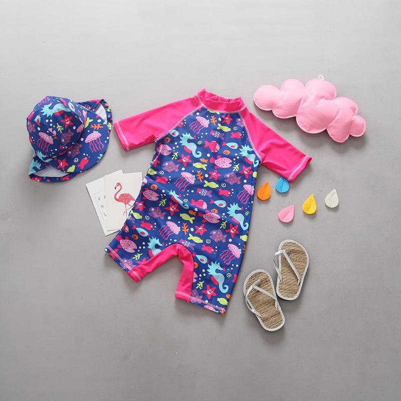 1-5T Summer Baby Swimwear Girl Fish Print One Pieces Swimsuit Rose Red Beach Pool Children Swimwear for Girls Kids Bathing Suit