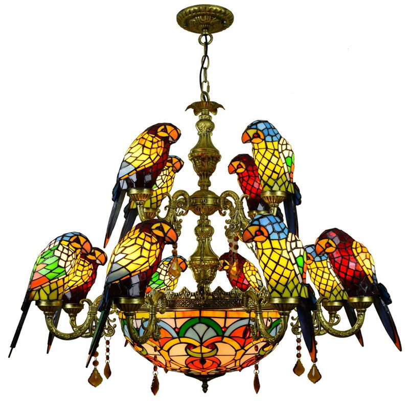 FUMAT-Luxurious-Parrot-Double-deck-Chandeliers-Tiffany-Stained-glass-12-birds-Parrot-Restaurant-Bar-club-Living
