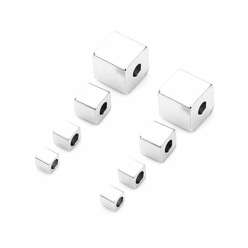 SAUVOO 50 teile/los Edelstahl Platz Perle Silber Ton 2,5 3 4 6MM Cube Große Loch Perle für DIY charme Armbänder Schmuck Machen