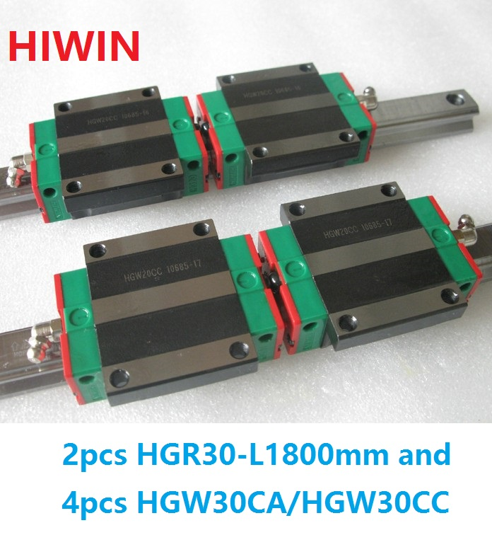 2pcs 100% original Hiwin linear guide HGR30 -L 1800mm + 4pcs HGW30CA HGW30CC flange block carriage new original rexroth runner block ball carriage r162221322 slider 100% test good quality