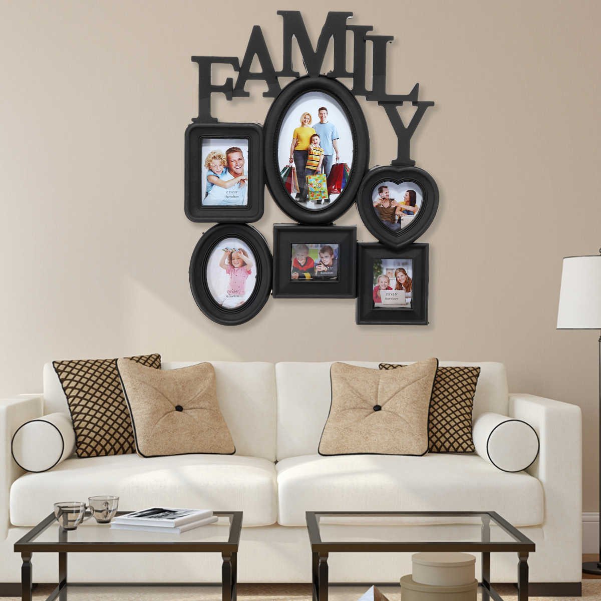 Family Photo Frame Wall Hanging 6 Pictures Holder Display Home Decor Gift Black 30x37cm Multi-sized Back Side with Pull Tabs