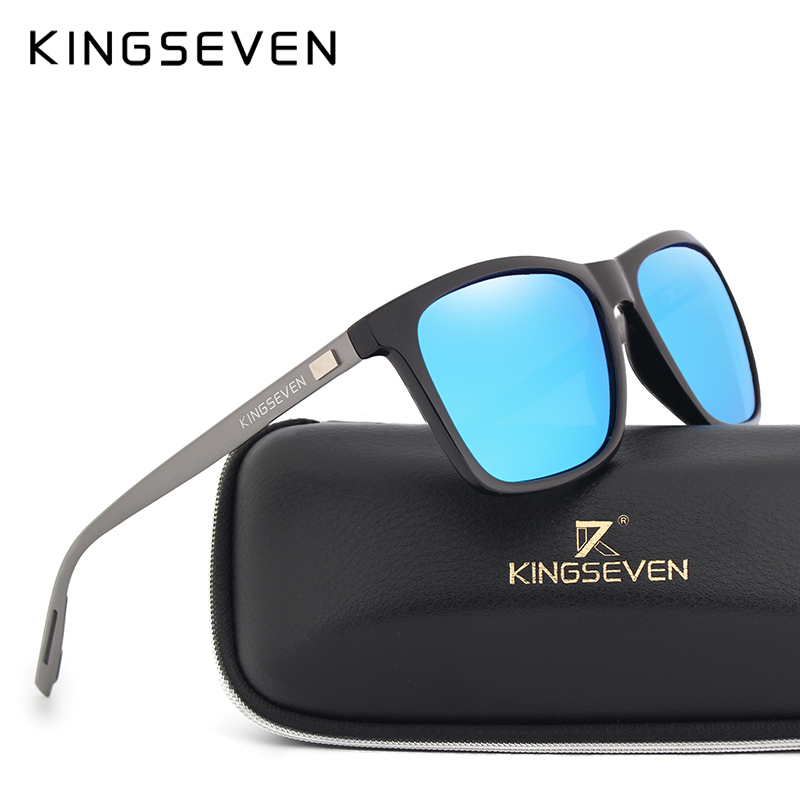 KINGSEVEN New Fashion Brand Designer Aluminium TR90 Solglasögon Polariserad Spegellins Man oculos Solglasögon Eyewear For Men