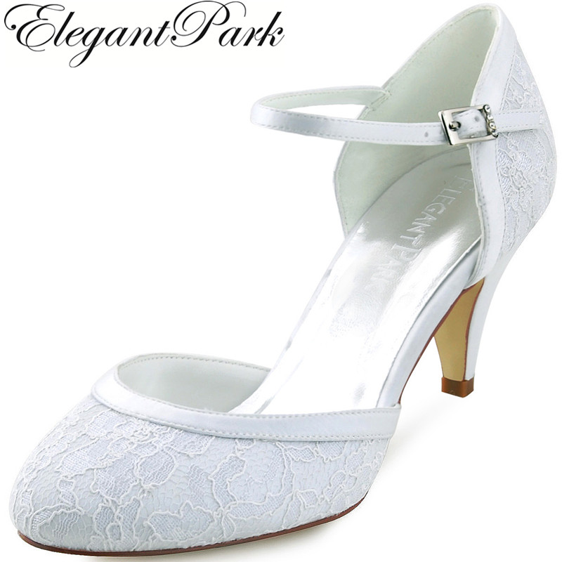 Woman  Wedding Shoes Mid Heel White Ivory Round Toe Buckle Lace Lady Bride Bridesmaids Bridal Prom Party Evening Pumps HC1508