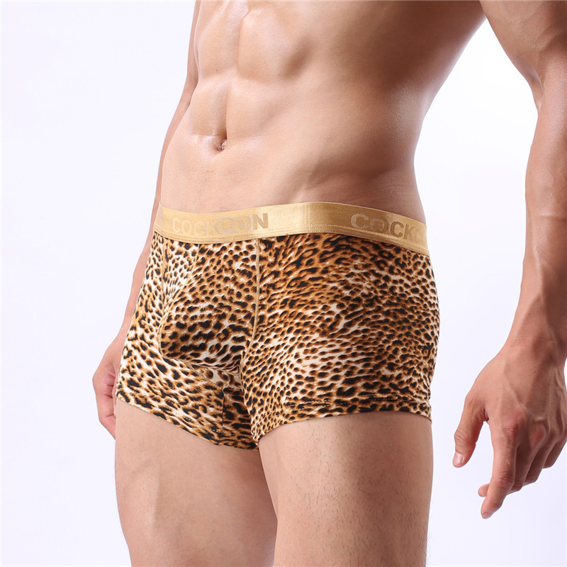 High quality men boxers shorts Cheap Mens novelty leopard print underwear Brand sexy fas ...