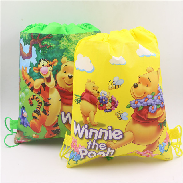 29b9143c2f9 1Pcs New Non-woven fabric travel school bag for kids winnie the pooh  drawstring backpacks