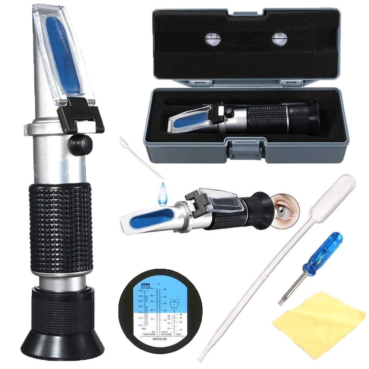 Handheld Glycol Refractometer Car 1.10-1.40sg Antifreeze Battery Acid Engine Coolant Tester Tool Auto Optical Instruments