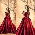 Бесплатная доставка вечерние платья длиной до пола , красного / бисероплетение / блестки красная линия off-плечи пром платья 2015 зияд Nakad