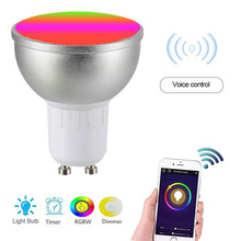 Led lampe AC85 265V 6W 4PCS LED Lampe RGBW WIFI Verbunden Intelligente Glühbirnen 16 Millionen Farben GU10 Basis KTV Home Party Deco