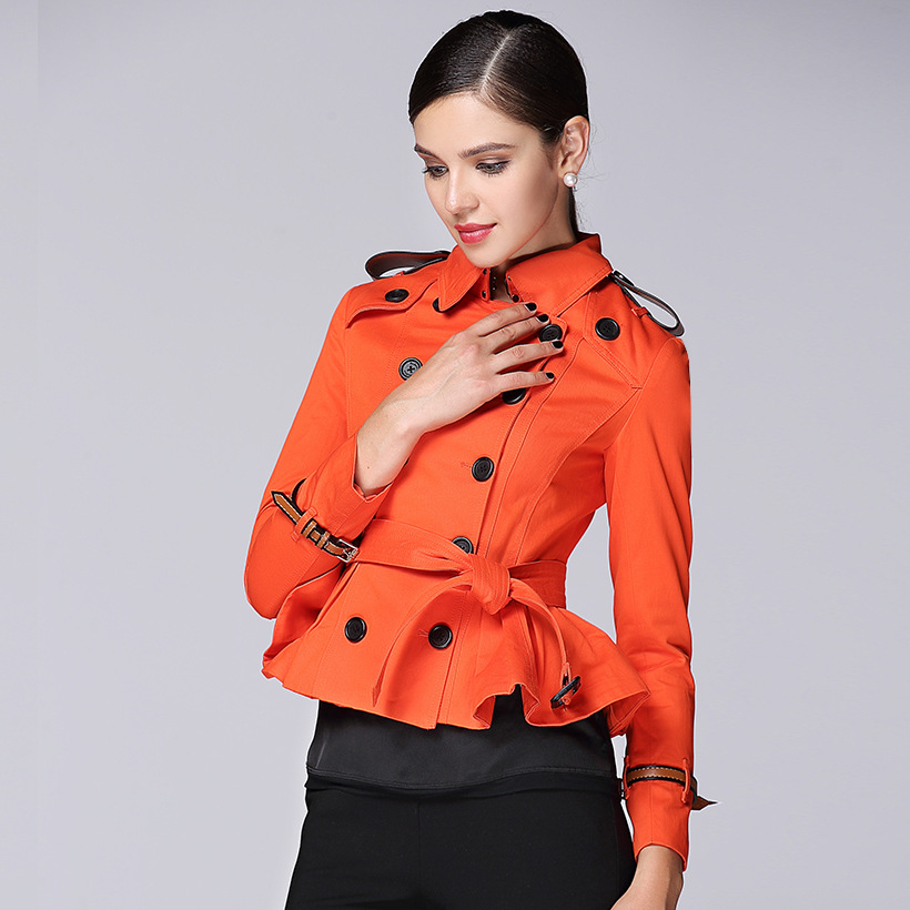 2017 New spring Autumn Trench Coat For Women Double Breasted Trench Coat short kaki orange Long Sashes female windbreak