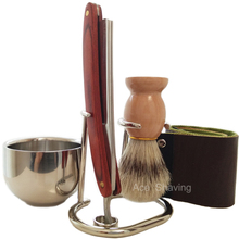Free Shipping Barber Straight Razor Shaving Set Stand Stainless Steel small bowl strop Boar Bristle brush 5 pcs Set zy 7pcs set straight razor set wood shaving razor badger shaving brush leather strop bowl stand soap for man shave