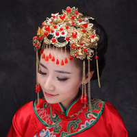 Chinese Traditional Jewelry Classical Bridal Headdress Coronet Hair Accessories Crystal Pendants Tassels Frontlet
