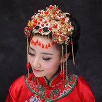 Jóias Tradicional chinesa Clássica Nupcial Frontlet Cocar Acessórios Para o Cabelo Coroa de Cristal Pingentes Borlas