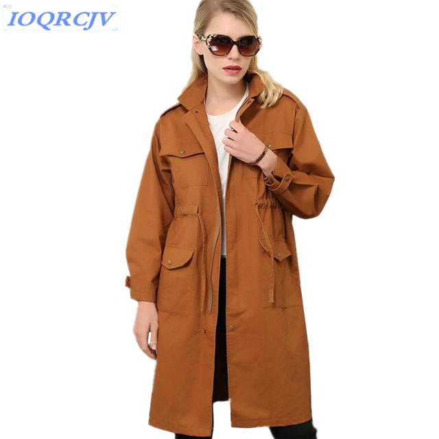 2018 Spring Women Trench Coat New Fashion Solid color Large size Loose Outerwear Belt Slim Windbreaker Coat Female IOQRCJV N041